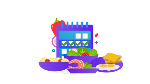Calendar surrounded by food
