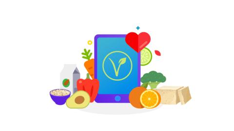 Various vegan foods with vegan symbol