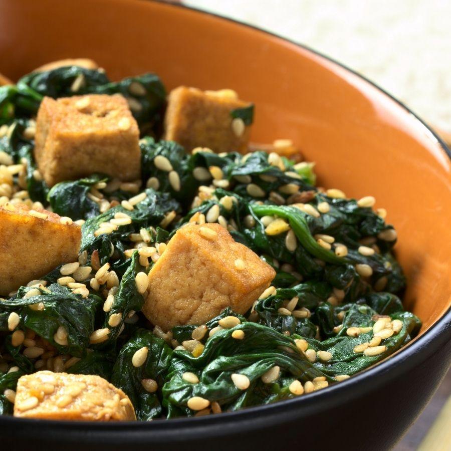 Tofu Broccoli and Spinach Bowl